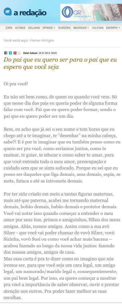 Artigo publicado no jornal A Redação.